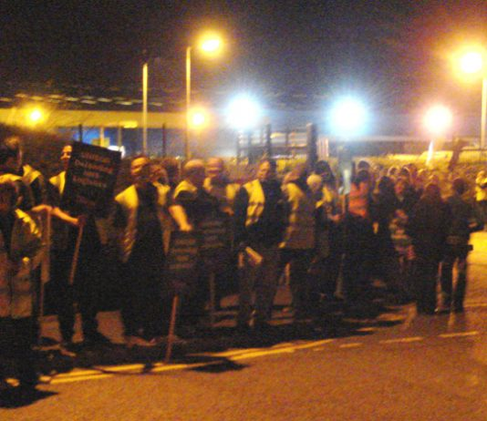 A well supported picket line outside the Maidstone NHS Logistics depot on Tuesday evening