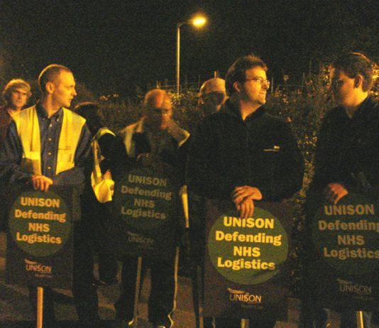 Striking NHS Logistics workers on the picket line in Maidstone on Tuesday night