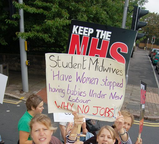 Student midwives marching in Nottingham last Saturday – angry that in spite of their skills they cannot get a job