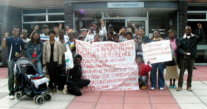 Chagos Islanders outside the Horsham County Court on Wednesday morning