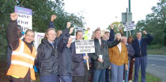 Low payed Whipps Cross Hospital workers employed by Rentokil/Initial during their strike in July for parity with NHS employed staff