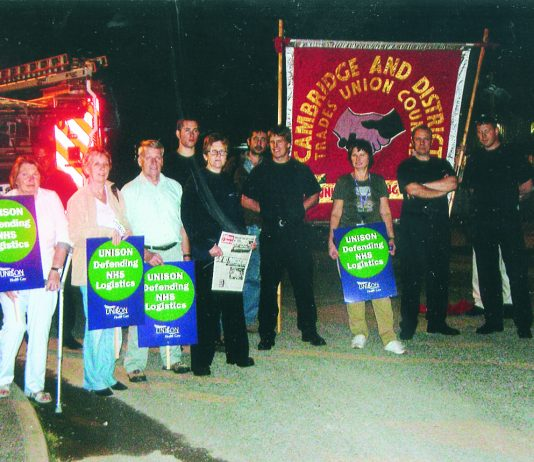 NHS Logistics workers picketing last tuesday night at Bury St Edmunds determined they will not work for privateer DHL