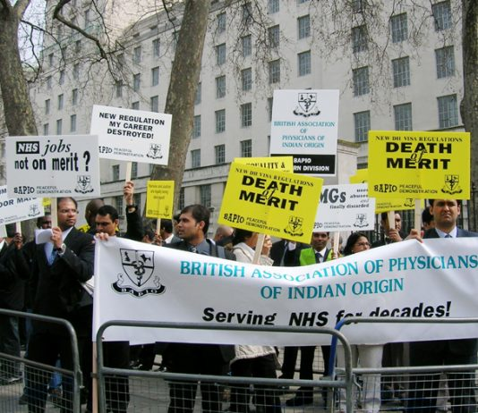 Overseas doctors outside Downing Street protest against discrimination – Donaldson proposes that the GMC lose its management of the PLAB (Professional and Linguistic Assessment Board)