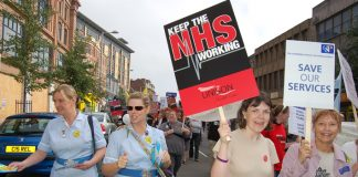 Nurses marching in Nottingham last month against cuts and sackings in the NHS