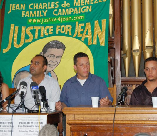 ALEX PEREIRA (second from right) addressing a de Menezes family press conference in July this year