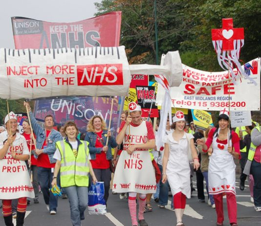 The front of the 5,000-strong march on September 23 in Nottingham to defend the NHS
