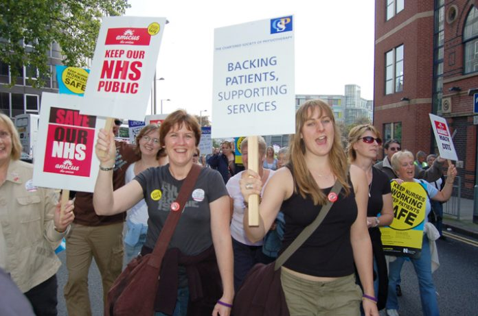 NHS trade unionists on the 5,000-strong march through Nottingham on September 23rd against hospital cuts and closures
