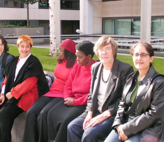 EMMA GINN (second left), ENID RUHANGO and SOPHIE ODOGO (centre) and GILL BUTLER (second right) were among those who attended a press conference outside the Home Office yesterday, where they demanded the closure of Yarl's Wood and all the other immigration