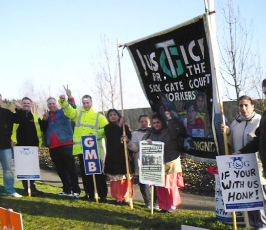 Heathrow Terminal 5 building workers on strike last January supported by locked-out Gate Gourmet workers