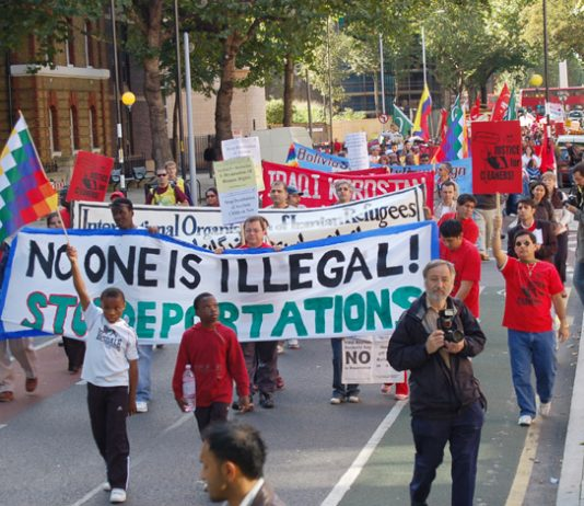 The front of Saturday's 500-strong March for Migrant Workers