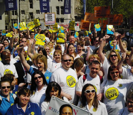RCN members rally in central London on June 11 when they launched their 'Keep Nurses Working Keep Patents Safe' campaign