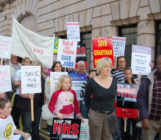 UNISON head of health KAREN JENNINGS (centre) joined the 5,000-strong march in Nottingham against NHS cuts