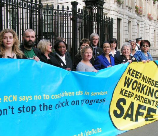 A delegation of nurses and representatives of patient charities outside Downing Street yesterday