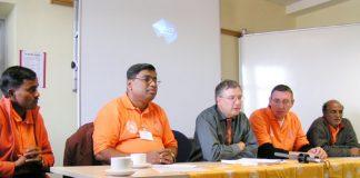 London press conference with (left to right) DHANANJAY YADAV, VIDYADHAR RANE, ITF assistant secretary STUART HOWARD, ROB JOHNSTON (IMF) and KHALANI SABI ISMAIL