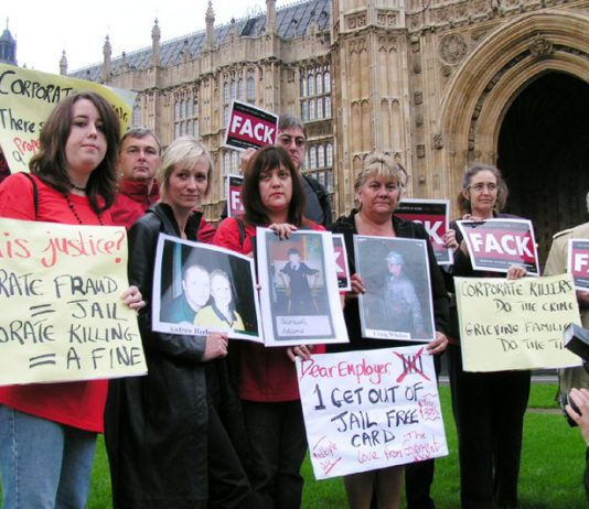 Bereaved families lobbying parliament yesterday. LINZI HERBERTSON is third from left and LINDA WHELAN is sixth from left