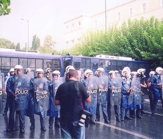 Greek police. There have been a number ov violent police attacks on the teachers