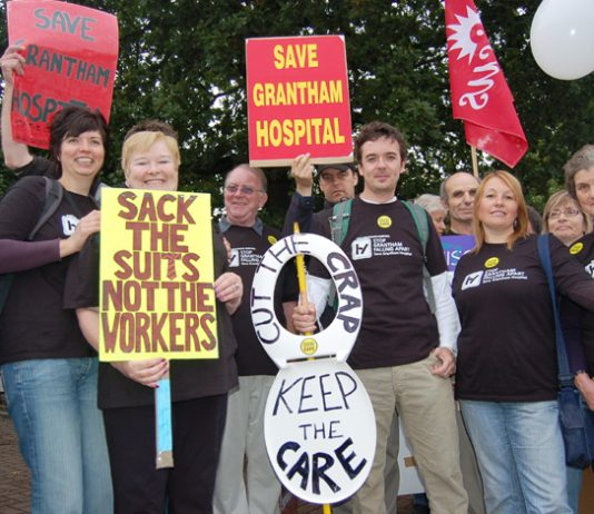 Health workers fighting to save Grantham Hospital on the 5,000-strong march through Nottingham last month