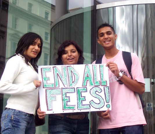 Students, who are part of the first year to pay £3,000 fees, showing their opposition to all fees