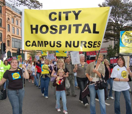 Nurses marching in Nottingham last month demanding no cuts to the NHS