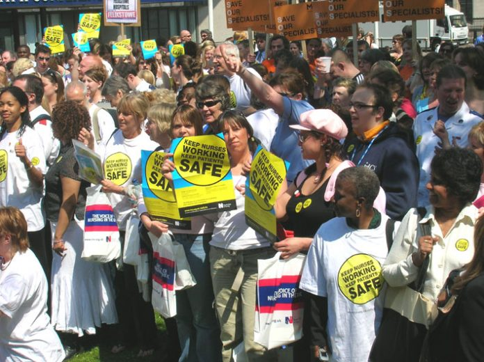 RCN members rallying in central London in May against all cuts to the NHS