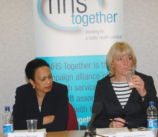 RCN leader BEVERLY MALONE with UNISON health official KAREN JENNINGS at the centre of the 'NHS Together' platform yesterday morning