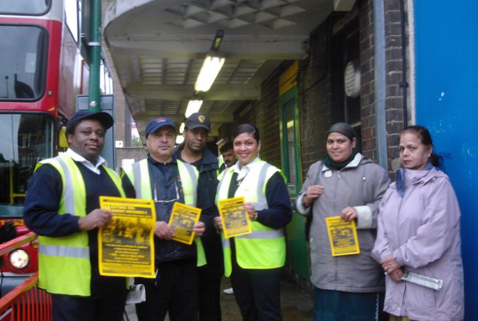 Gate Gourmet locked-out workers campaigning at Hounslow bus garage yesterday where they received lots of support