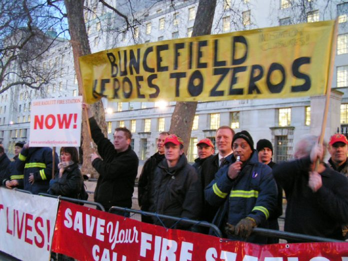 Hertfordshire firefighters lobbied Downing St in March over the announced closure of fire stations, rather than attend  Blair's reception for Buncefield fire heroes
