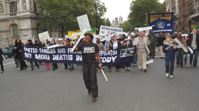 Janet Alder leads 'No More Deaths in Custody' marchers on the way to Parliament Square on Saturday