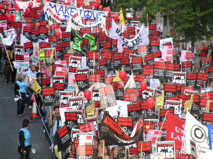 A section of the 25,000-strong march on London's Embankment yesterday