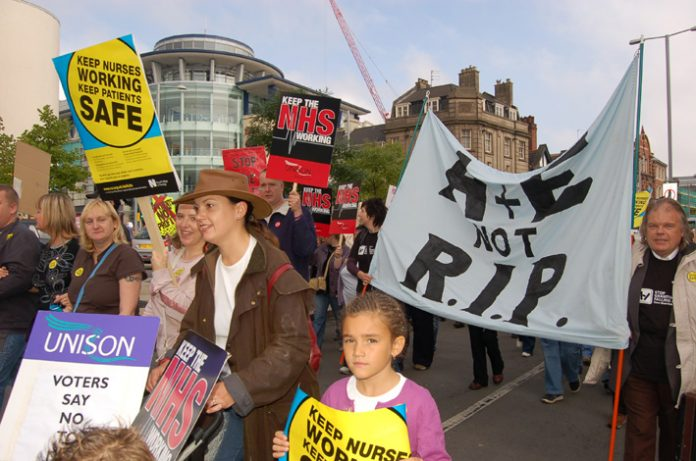 A section of the 5,000-strong march through Nottingham determined to defend NHS jobs and A&E services