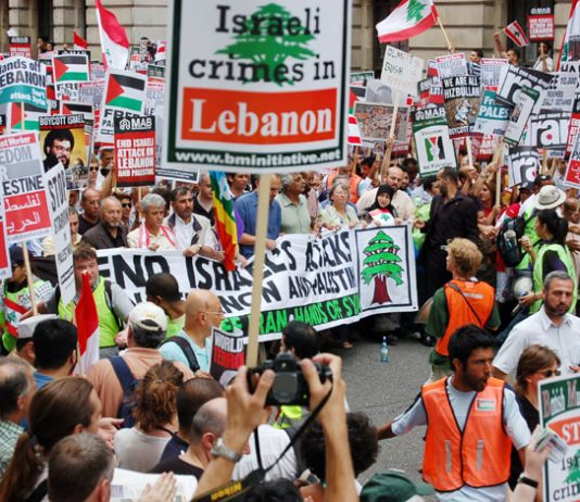 Demonstration in London in July against the Israeli attack on Lebanon