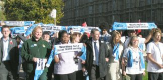 UNISON leader DAVE PRENTIS (centre) joined with staff representing the entire NHS workforce at the launch of NHS Together on Wednesday morning