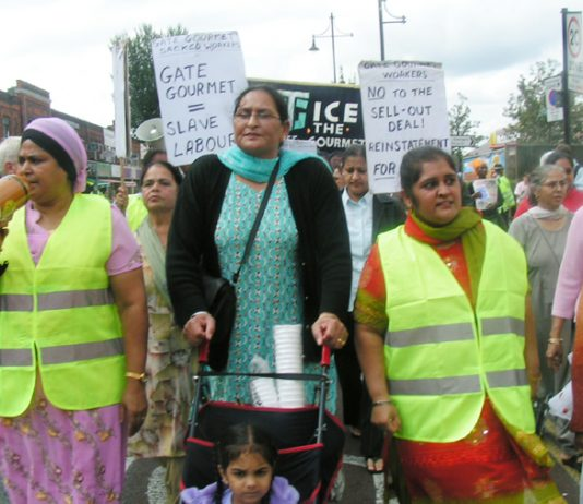 Gate Gourmet sacked workers marching through Southall on August 20 this year to mark the first yearof their struggle. Now they are campaigning for a successful rally this Sunday on the eve of their employment tribunal