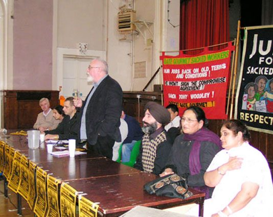 The platform including (left to right) JOHN McDONNELL, standing DAVE WILTSHIRE, HARBINDER SINGH, LAKHVINDER, and PARMJIT BAINS