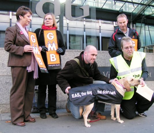 JJB Sports striking GMB members lobbying the DTI in London yesterday with the 'dog that did not bark' to demand that the Employment Agencies Standards Inspectorate enforce the law in their dispute