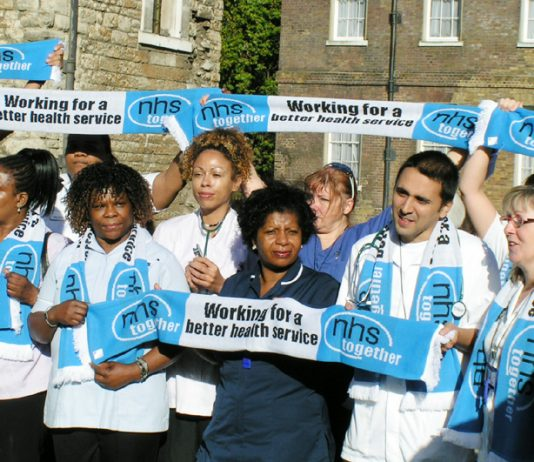 'NHS Together' lobby of parliament demanding no cuts in the NHS