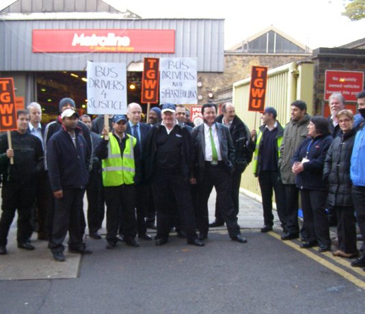 One of the big picket lines out yesterday at Holloway Metroline bus garage