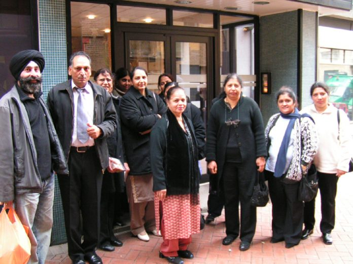 Gate Gourmet sacked workers  attending yesterday's Tribunal hearing