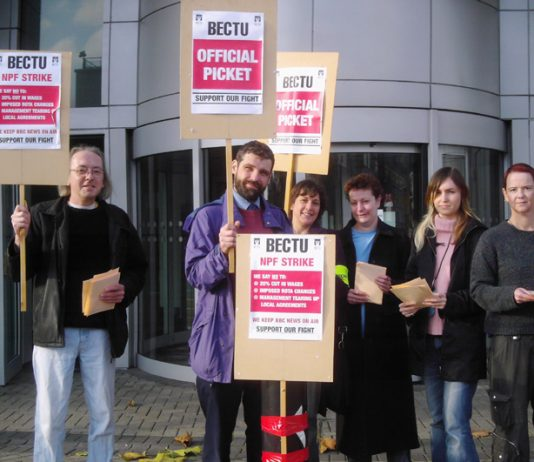 BECTU picket line at the Television Centre at White City in West London on Wednesday morning