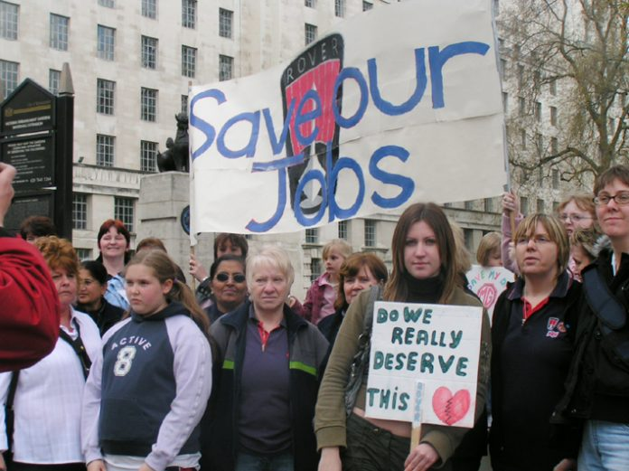 Rover workers and their families lobbying Downing Street in April 2005 demanding the Rover Longbridge factory be kept open