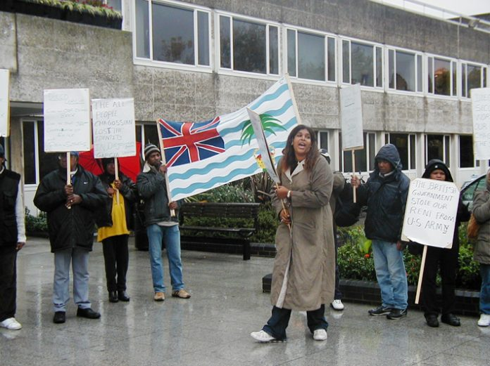 'Free us from private landlords' shouted Chagos Islanders outside Crawley Town Hall yesterday