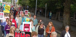 A section of the 5,000-strong march through Nottingham on September 23 demanding no cuts in the NHS