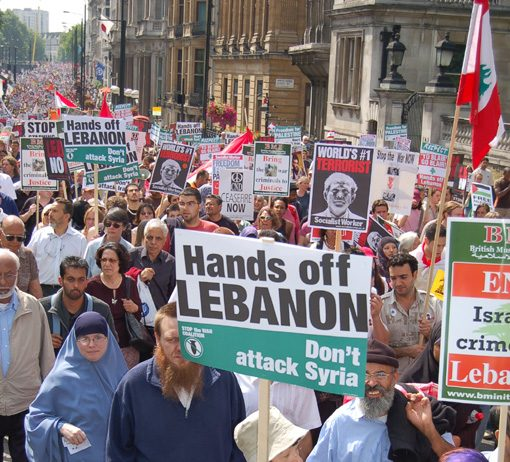 A section of the August 5 demonstration in London against the Israeli bombing of Lebanon