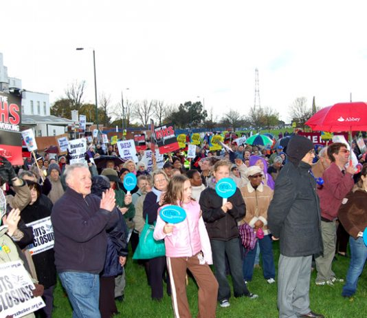 A secion of last Saturday's 1,500-strong rally with St Helier Hospital in the background