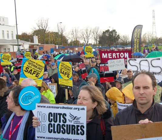 A section of the rally following the 1,500-strong march in Sutton demanding no cuts to the St Helier Hospital