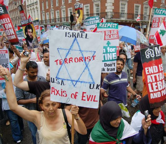 Demonstrators expressing their anger at the Israeli onslaught on Lebanon in July – police would like to criminalise slogans on placards they decide to be 'offensive'