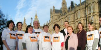 Mental Health Alliance lobbyists outside parliament on Tuesday