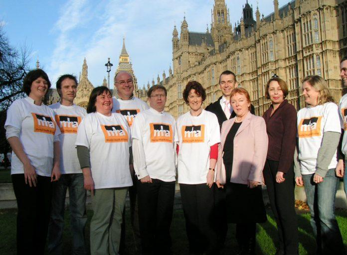 Mental Health Alliance lobbyists outside parliament on Tuesday