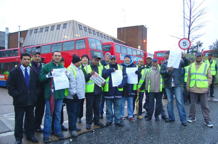 Determined Metroline pickets at Willesden garage during their stike over pay on November 20