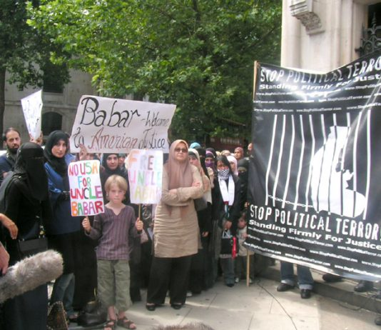 Demonstration in London against the extradition of Babar Ahmad to the US